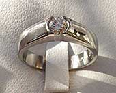 Diamond titanium engagement ring