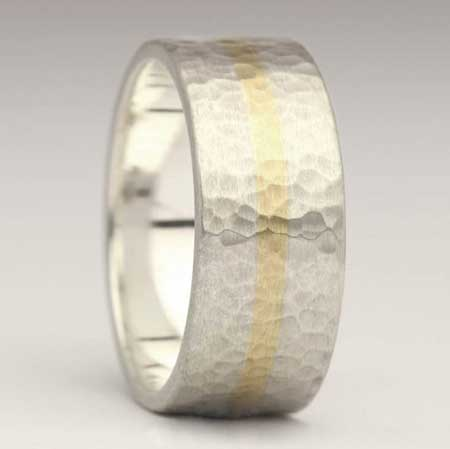 10mm beaten 9ct gold and silver wedding ring