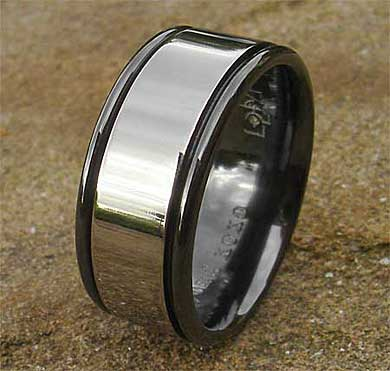 Wide mens wedding ring