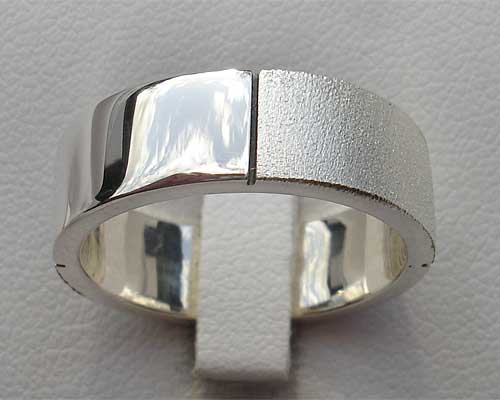 Mens Silver Twin Finish Ring