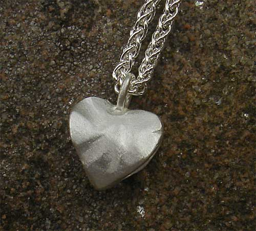 Ladies Silver Hammered Heart Necklace