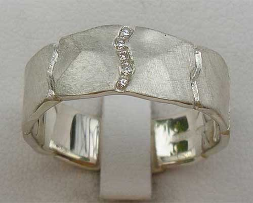 Channel set sterling silver diamond ring