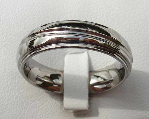 Affordable Shoulder Cut Titanium Wedding Ring