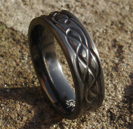 Black Celtic ring for men