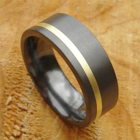 Alternative 9ct gold inlaid wedding ring for men