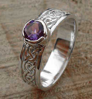 Amethyst silver Celtic engagement ring