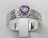 Amethyst silver Celtic ring