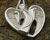 Angel silver heart necklace