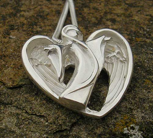 Guardian Angel Silver Heart Necklace