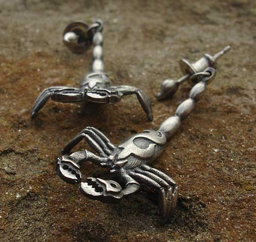 Oxidised Silver Scorpion Earrings