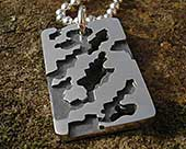Army camouflage mens silver necklace