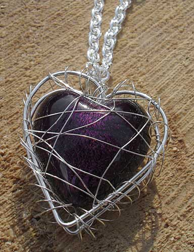 Aubergine heart necklace