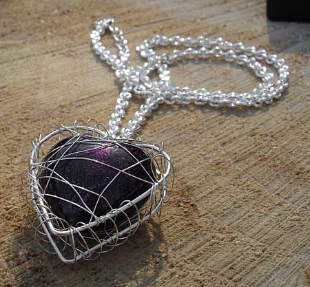 Aubergine heart women's silver necklace