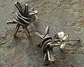 Silver barbed wire earrings