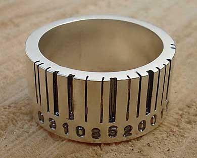 Barcode silver ring