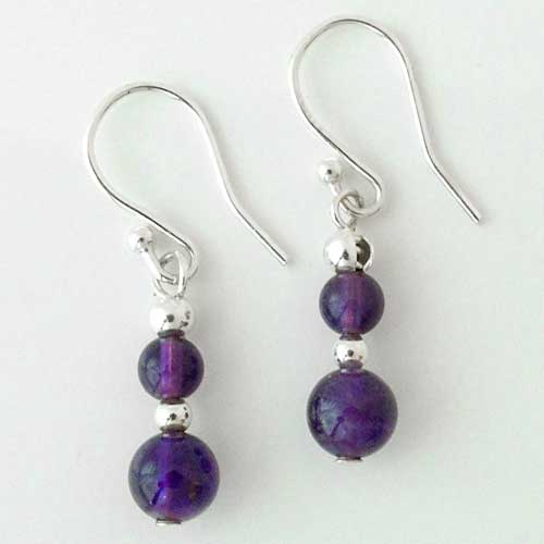 Beaded Silver Drop Earrings