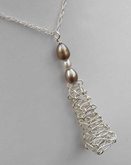 beaded silver wire necklace