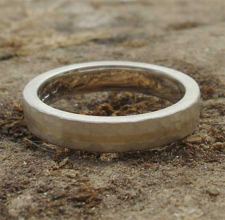 Beaten silver and 9ct gold ring