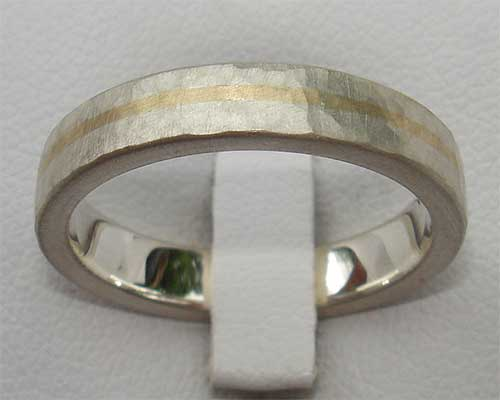 Beaten silver and 9ct gold wedding ring