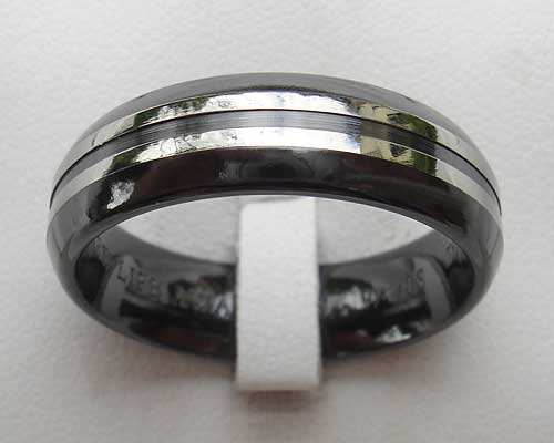 Mens Contemporary Two Tone Wedding Ring