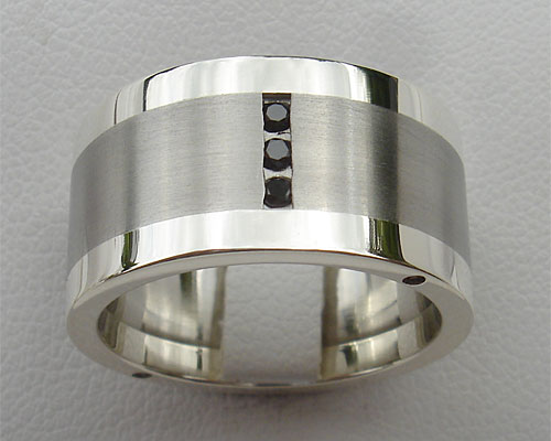 Black diamond wedding ring in steel