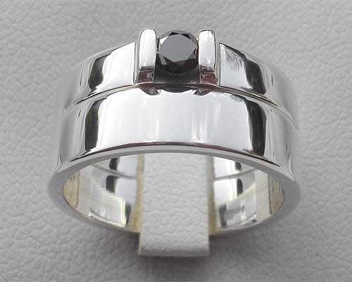 Black Diamond Silver Engagement Wedding Rings Set ONLINE in the UK