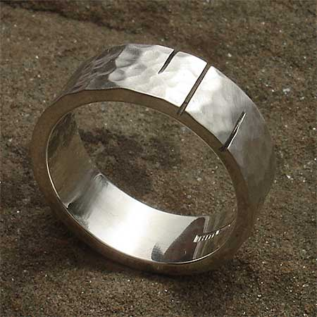 Etched hammered sterling silver ring