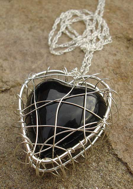 Black heart silver necklace