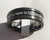 Black wedding ring with personalised engraving