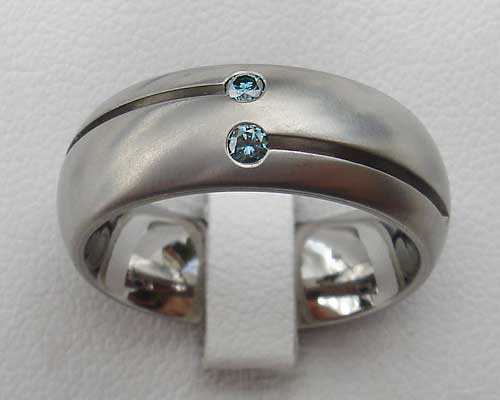Blue Or White Diamond Titanium Ring