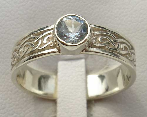 Scottish Blue Topaz Celtic Engagement Ring