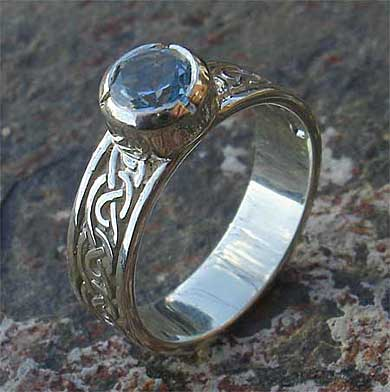 Celtic topaz engagement ring