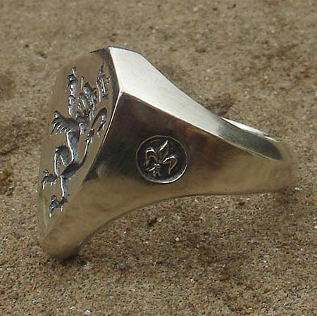 British lion silver signet ring
