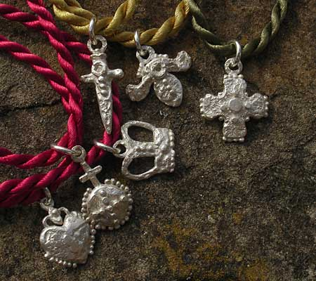 British made silver charm necklaces
