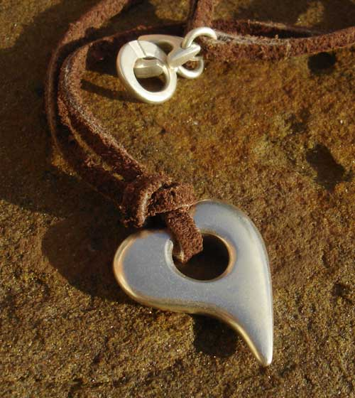 Brown suede silver heart necklace