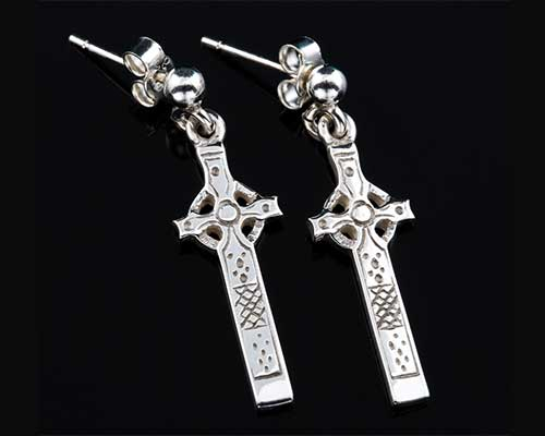 Celtic cross silver earrings