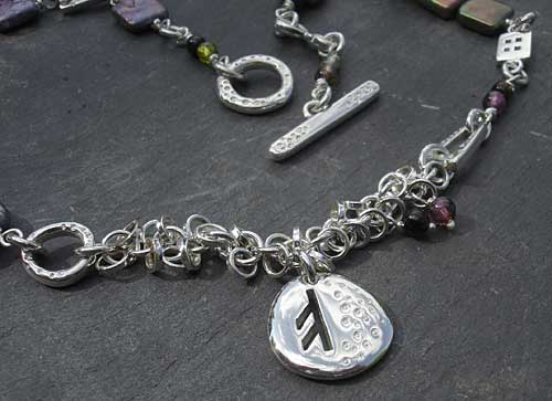 Womens Silver Runic Necklace