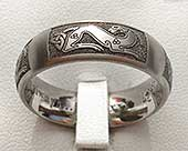 Celtic dog titanium ring
