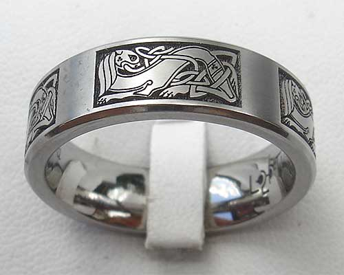 Celtic titanium ring engraved with Celtic dog art