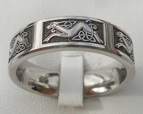 Flat Profile Celtic Dog Titanium Ring LOVE2HAVE in the UK