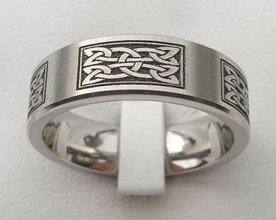celtic engraved titanium ring - Scottish Wedding Rings