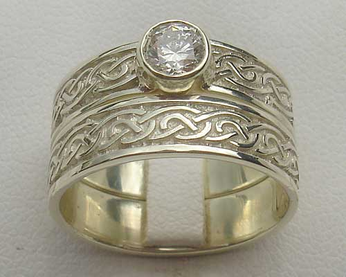 Celtic Gold Wedding & Diamond Engagement Ring Set