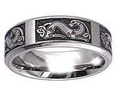 Titanium ring with Celtic dog engravings