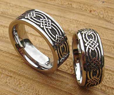 Titanium Celtic knot rings