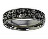Titanium Celtic ring with a shield knot Celtic engraving