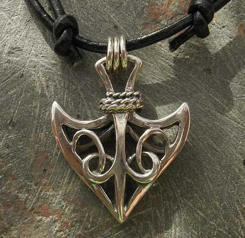Celtic silver arrowhead necklace