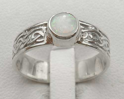 Celtic silver engagement ring