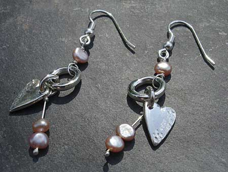 Modern Celtic hook earrings with pink pearls and silver hearts