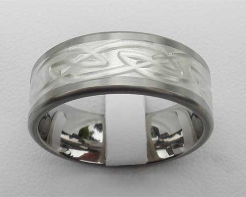 Titanium Celtic wedding ring with a silver Celtic inlay