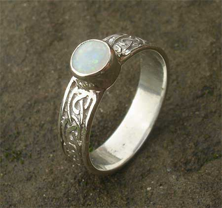 Celtic sterling silver engagement ring